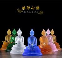 Wholesale figure Buddha HOME efficacious Talisman Protection # 7P Retro Tibetan Medicine Guru Buddha Colored Glaze Buddha statue