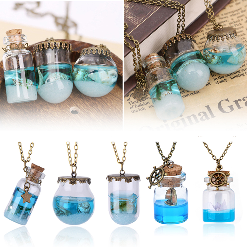 Ocean Style Bottle Starfish Shell Glass Cover Pendant Necklace Fashion Jewelry