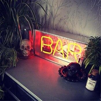 Letreros Vintage Personalizados | Vintage Metal Box LOUNGE Bar Neón Señal Tubo Luz Cristal Real Tubo Handcraft KTV Pub Lámpara Nocturna CA 220 V 230 Lámpara Personalizada De V 110 V