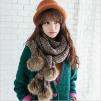 Winter Big Rabbit Fur Ball Knitted Thick Wool Scarves Long Knitted Warm Scarf Cape Cloak Pashmina