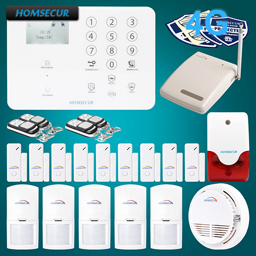HOMSECUR Wireless&wired 4G/GSM LCD Home Security Alarm System+IOS/Android APP GA01-4G-W 2 4g wired