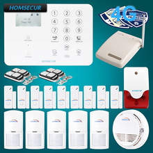 HOMSECUR Wireless wired 4G GSM LCD Home Security Alarm System IOS Android APP GA01 4G W
