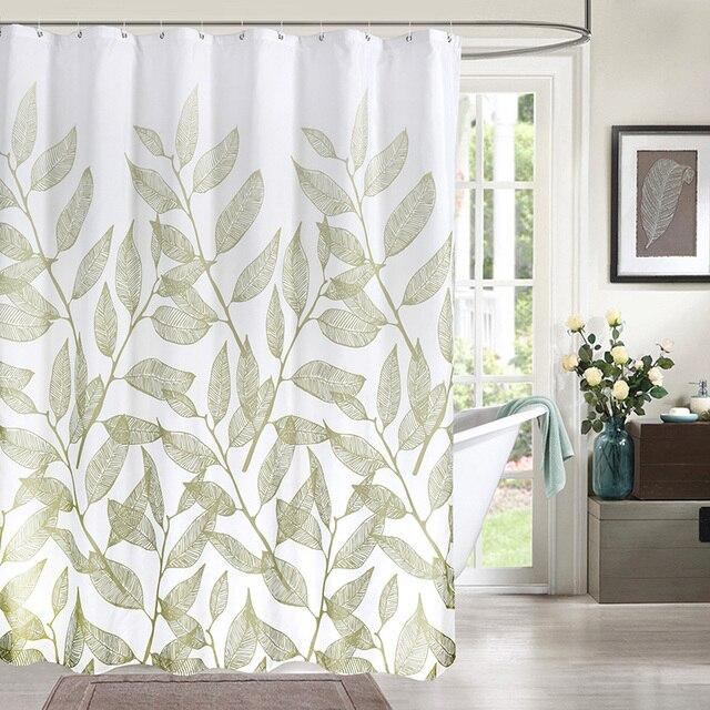 Green Plant Leaf Print Shower Curtains Simple Elegant Curtain For Bathroom High Quality Waterproof Polyester Fabric Bath