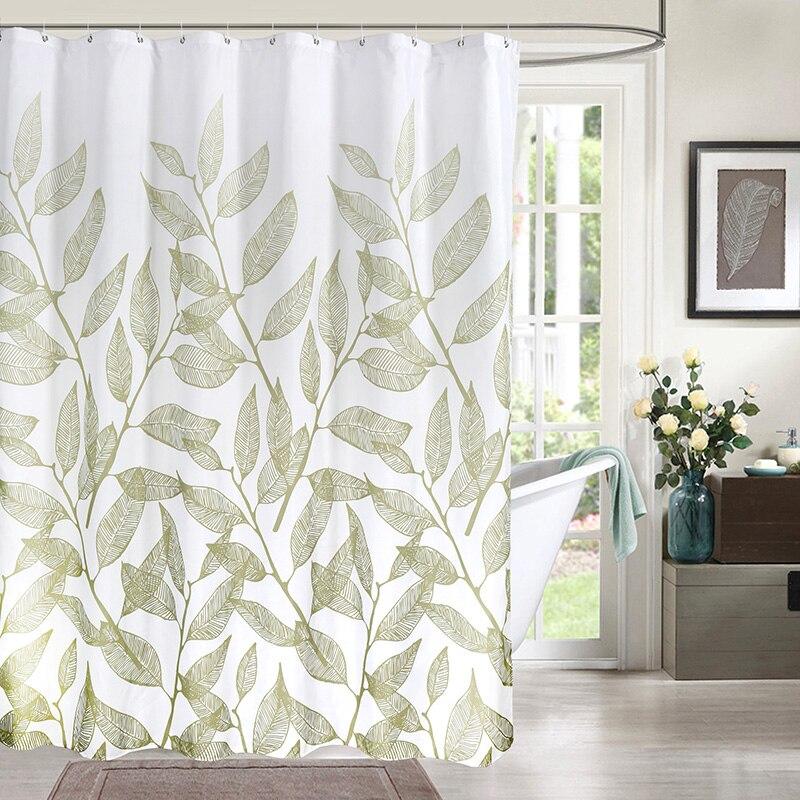 Cortinas de Chuveiro de Impressão Simples e Elegante Cortina para o para o Banheiro de Alta Tecido de Poliéster Cortina de Banho Folha da Planta Verde Banheiro de Alta Qualidade Impermeável
