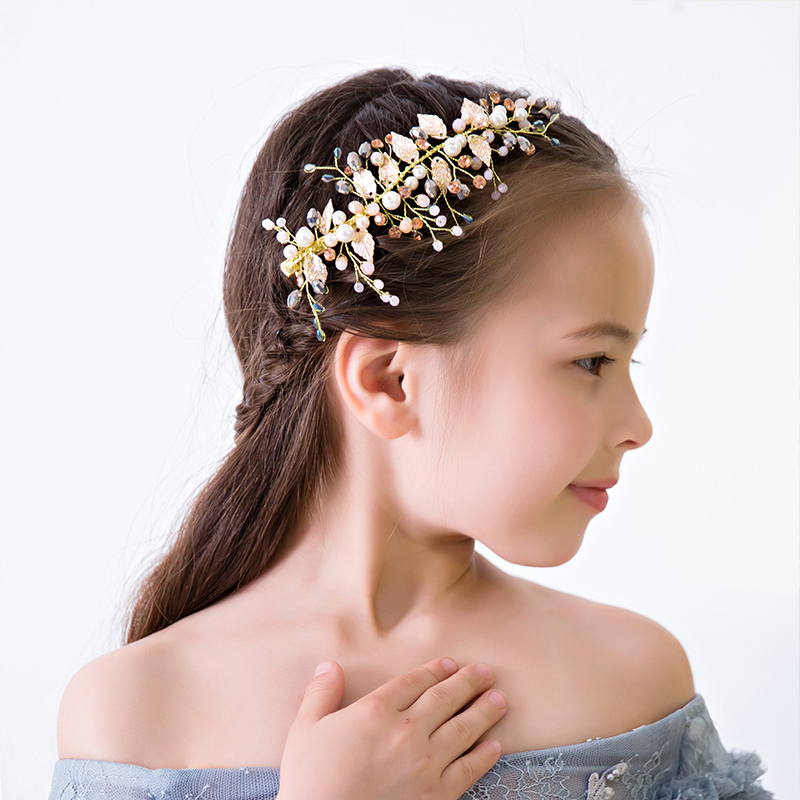 050299c71d3e9 Mouse over to zoom in. Gold Color Leaves Design Girls Barrettes Hair Clips  Princess Birthday Hairwear Ornaments Flower Girl Wedding Headpiece ...