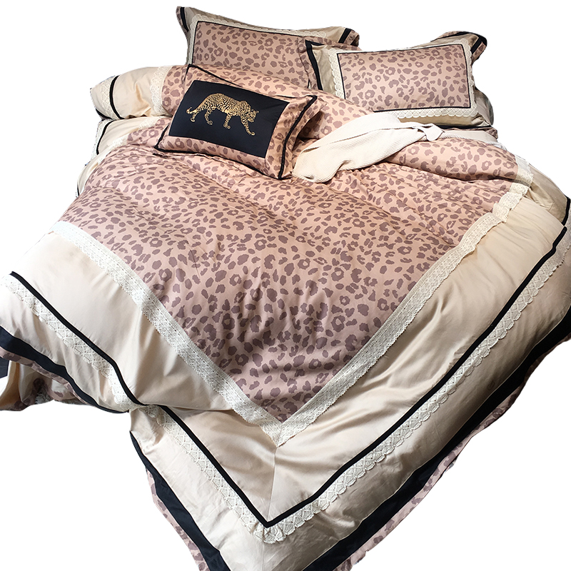 Hot Bedding Outlet Zevi Bedding Stylish Sexy Leopard Duvet Cover Embroidered Luxury Bedspread Lace 4Pcs Queen King drap de lit ...
