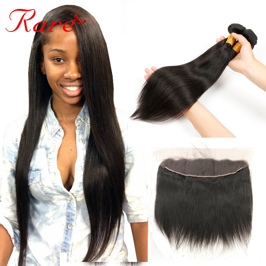 Brazilian Straight Hair With Lace Frontal Closure 100% Human Hair Bundles Straight Brazilian Straight Hair With 13*4 Frontal