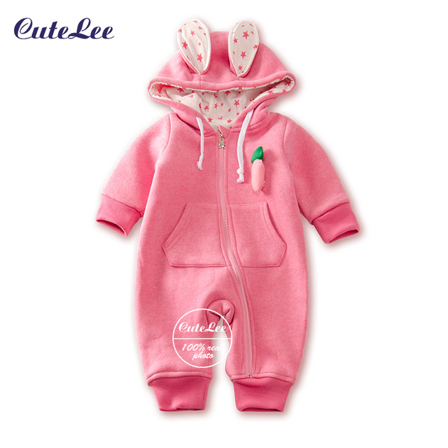 New Baby cartoon cotton snowsuit with hat newborn baby girl boy hooded clothes skiing snowsuit for boys winter coats and jackets