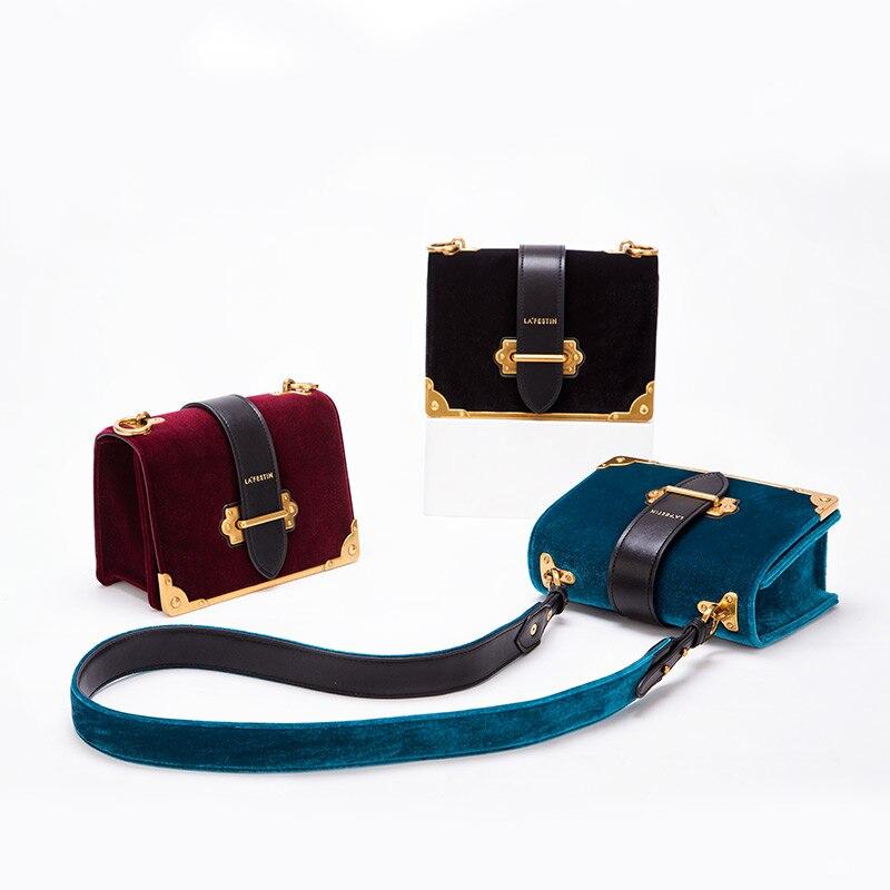 LAFESTIN Femmes sac à bandoulière sac à main en velours Marques 2018 Conception De Luxe Célèbre Designer sac à bandoulière Feminina qualité supérieure - 6