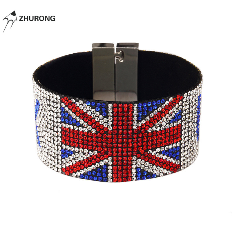 Fashion Men Cuff Bracelet Cloth Design Singer UK Club Punk Rock Hip Hop Jewelry Filling Men Wristband Wrap Bracelet For Men Gift
