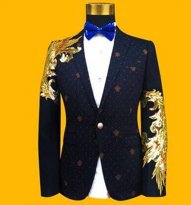 Singer Dance Stage Clothing For Men Suit Set With Pants Mens Wedding Suits Costume Blue Golden Personality Formal Dress Tie