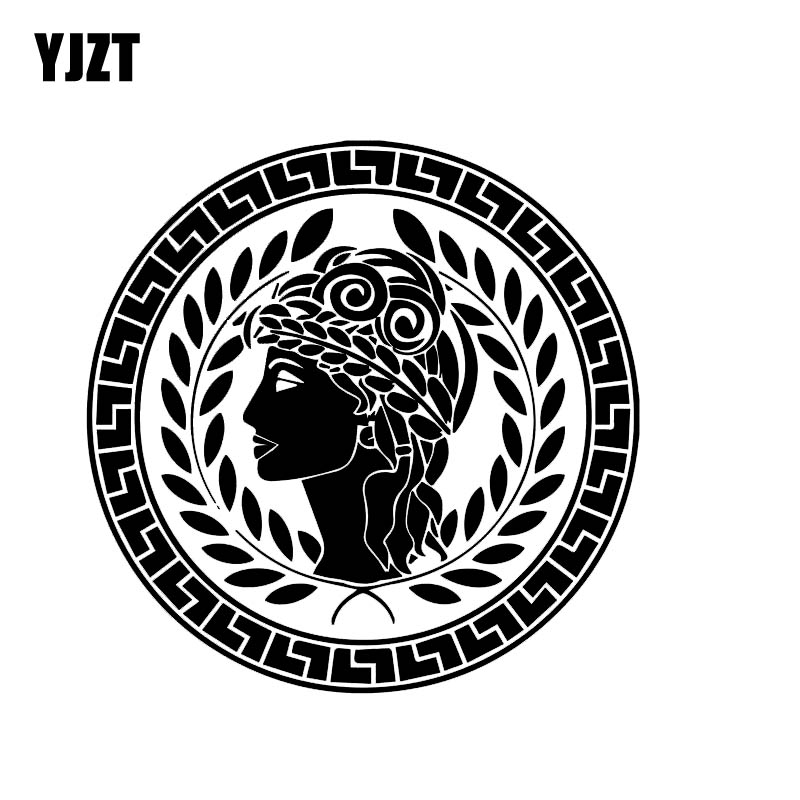 YJZT 14.7*14.7CM Greek Peace And Love Lady Vinyl Fashion Decal Car Sticker Popular Style Skillful Design Black/Silver C20-1056