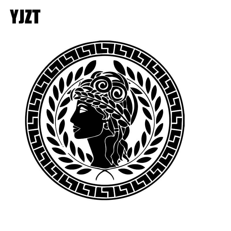 YJZT 14.7*14.7CM Greek Peace And Love Lady Vinyl Fashion Decal Car Sticker Popular Style Skillful Design Black/Silver C20-1056