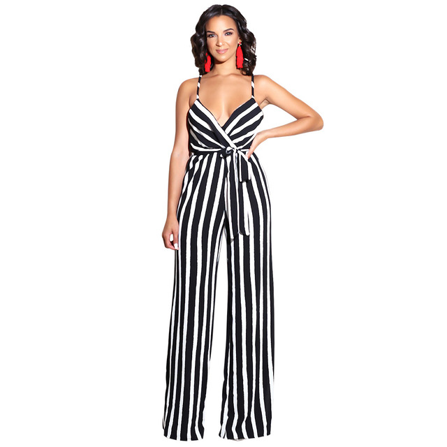 8dd8bacc2ddc Hot Fashion Black White Stripe Sexy Jumpsuit Women Spaghetti Strap Backless  Casual Romper Summer Long Wide Leg Sash OverallX9017