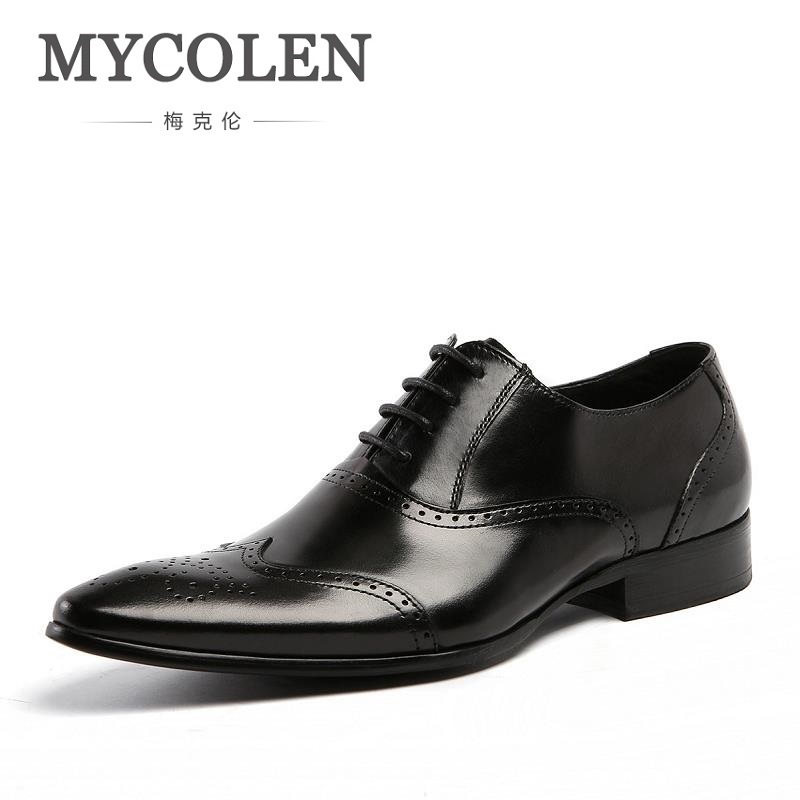 MYCOLEN Men Shoes Genuine Leather Black Men's Dress Shoes Brand Luxury Man Flat Brown Wedding Oxford Sapatos Social Masculino men s shoes business dress genuine leather evening dress flat shoes brand luxry oxford men loafers wedding leather shoes