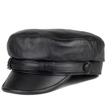 Unisex South Korean Style Genuine Leather Fitted Flat Hat For Man Woman Personality Locomotive Punk Black Baseball Caps - DISCOUNT ITEM  49% OFF All Category