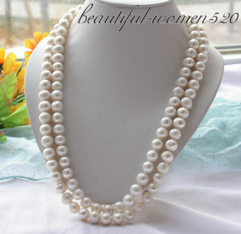 "Z3576 A++ Long 48"" 12mm white round CULTURED PEARL necklace"