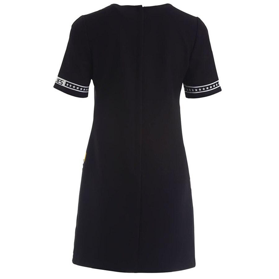 Nouvelle Courtes Élégant Robe Noir Aeleseen Mode Mini Designer Imprimer 2019 Été Femmes Perles Piste Manches Lettre De t76Fdx6w
