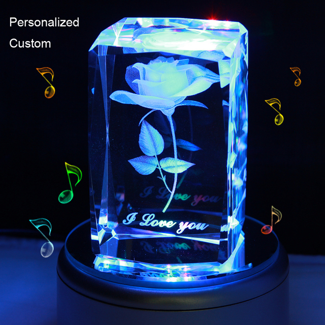 Music Box Diy Custom Crystal Engraved Rose Flower Colorful