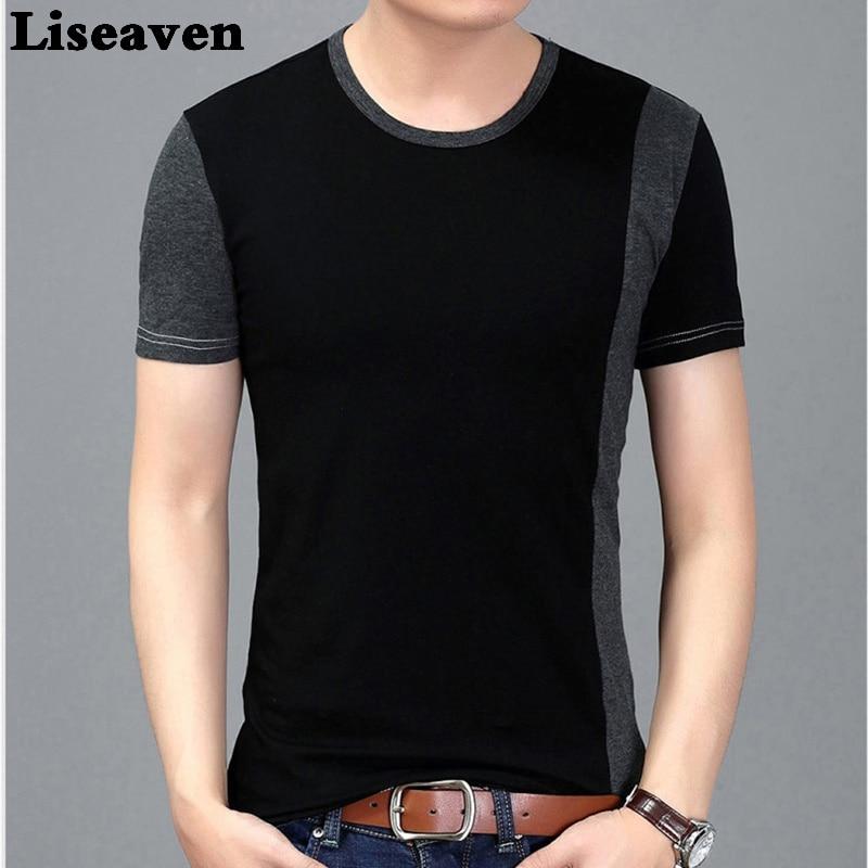 Liseaven 2017 Men Short Sleeve Plus Size Tee Shirt Black Casual T-Shirt Summer Tops for Men Brand T Shirts