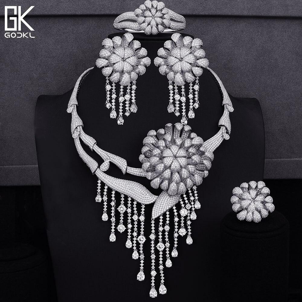 GODKI Luxury Tassels 4PCS African Jewelry Sets For Women Wedding Zirconia Crystal CZ Engagement Dubai Silver Bridal Jewelry SetsGODKI Luxury Tassels 4PCS African Jewelry Sets For Women Wedding Zirconia Crystal CZ Engagement Dubai Silver Bridal Jewelry Sets