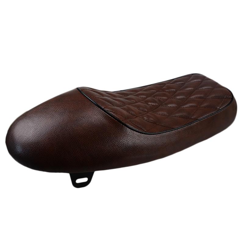 Brown Leather Flat Frame Universal Cafe Racer Vintage Seat Tracker Scrambler Saddle For Honda CB125S CB200 CB350 CL350 CB400