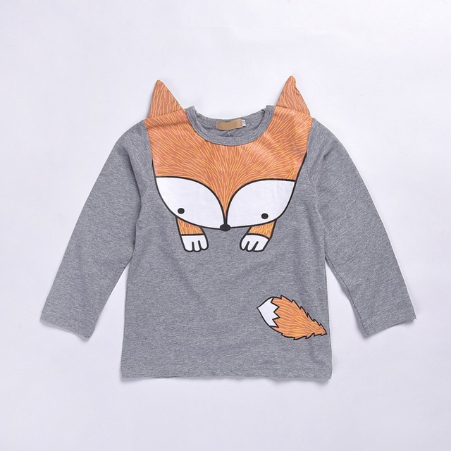 Free Shipping 2017 new spring 100%cotton baby gray fox pattern  Baby Girls Boys T-shirt