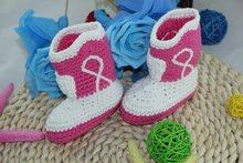 b510d1be7 الشحن مجانا ، لطيف اليدوية حك الكروشيه الطفل كاوبوي أحذية الوليد صور  الدعامة جديد-أبيض/الوردي