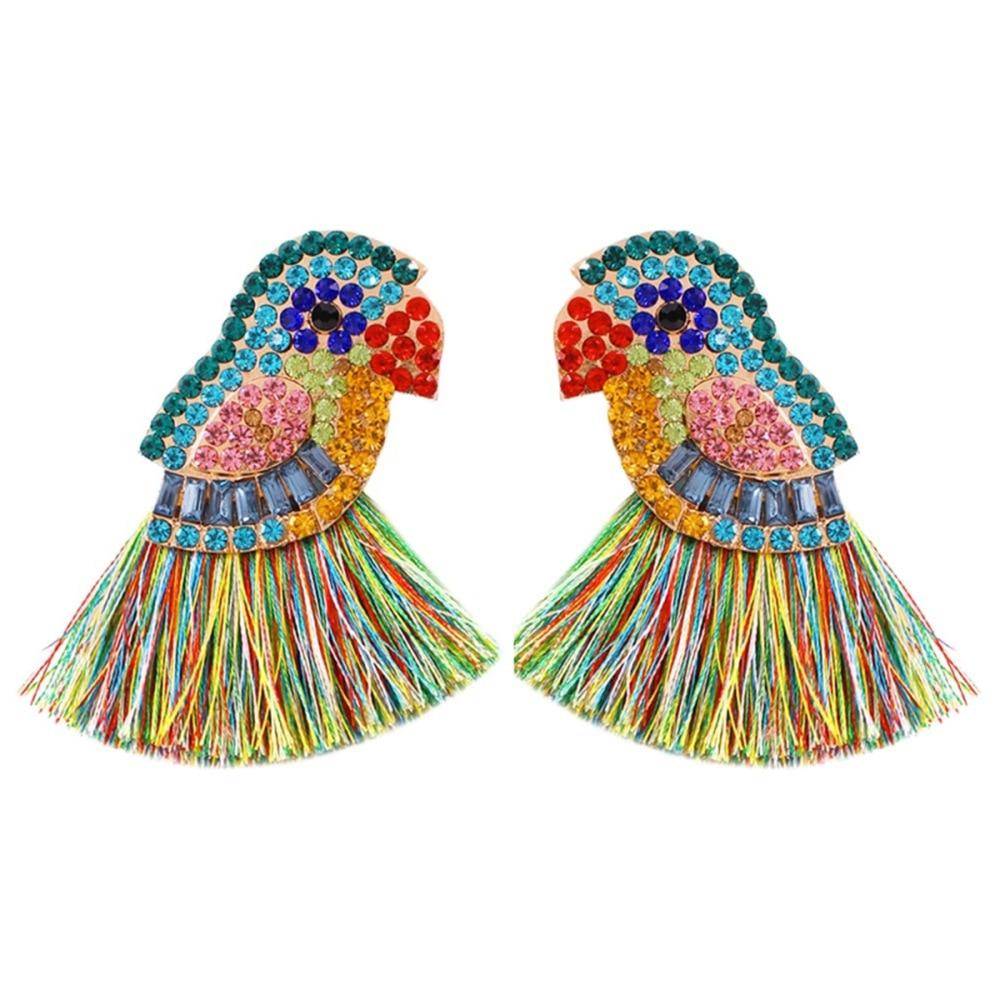 Fashion Charm Glass Crystal Birds Tassel Earring for Women Luxury Rhinestone Animal Fish Long Fringed Drop Earring Wedding Gifts