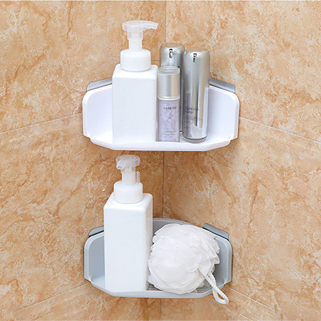 Plastic Suction Cup Bathroom Kitchen Corner Storage Rack Organizer Shower Shelf & Plastic Suction Cup Bathroom Kitchen Corner Storage Rack Organizer ...
