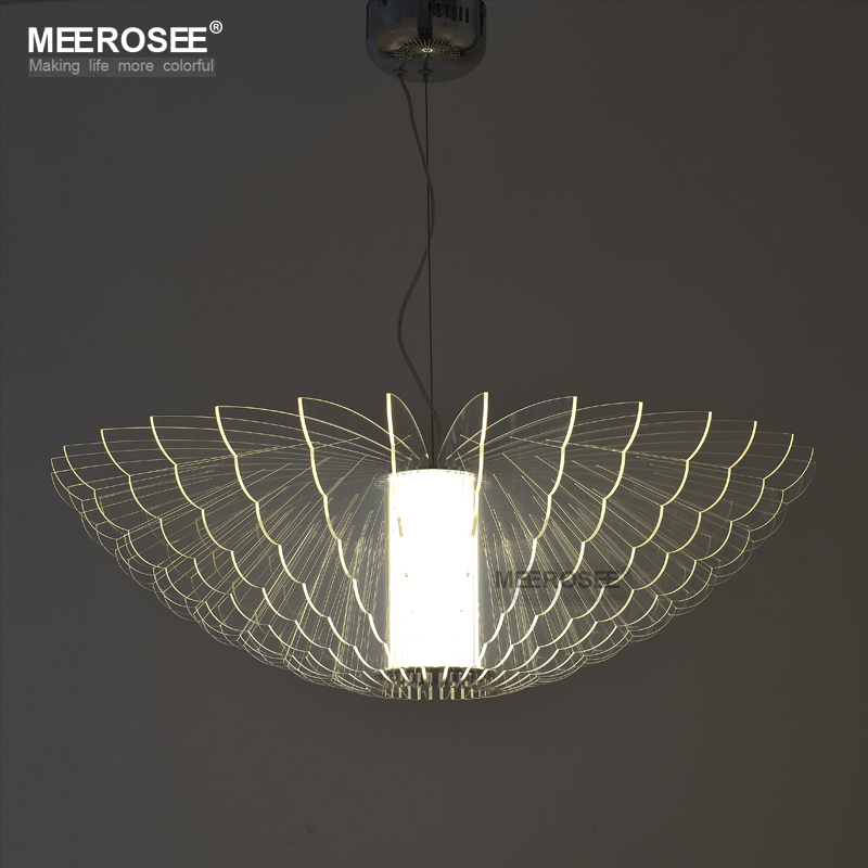 Led new lighting butterfly acrylic pendant light fixture led art deco hanging lamp for home decoration hotel restaurant md83098 in pendant lights from