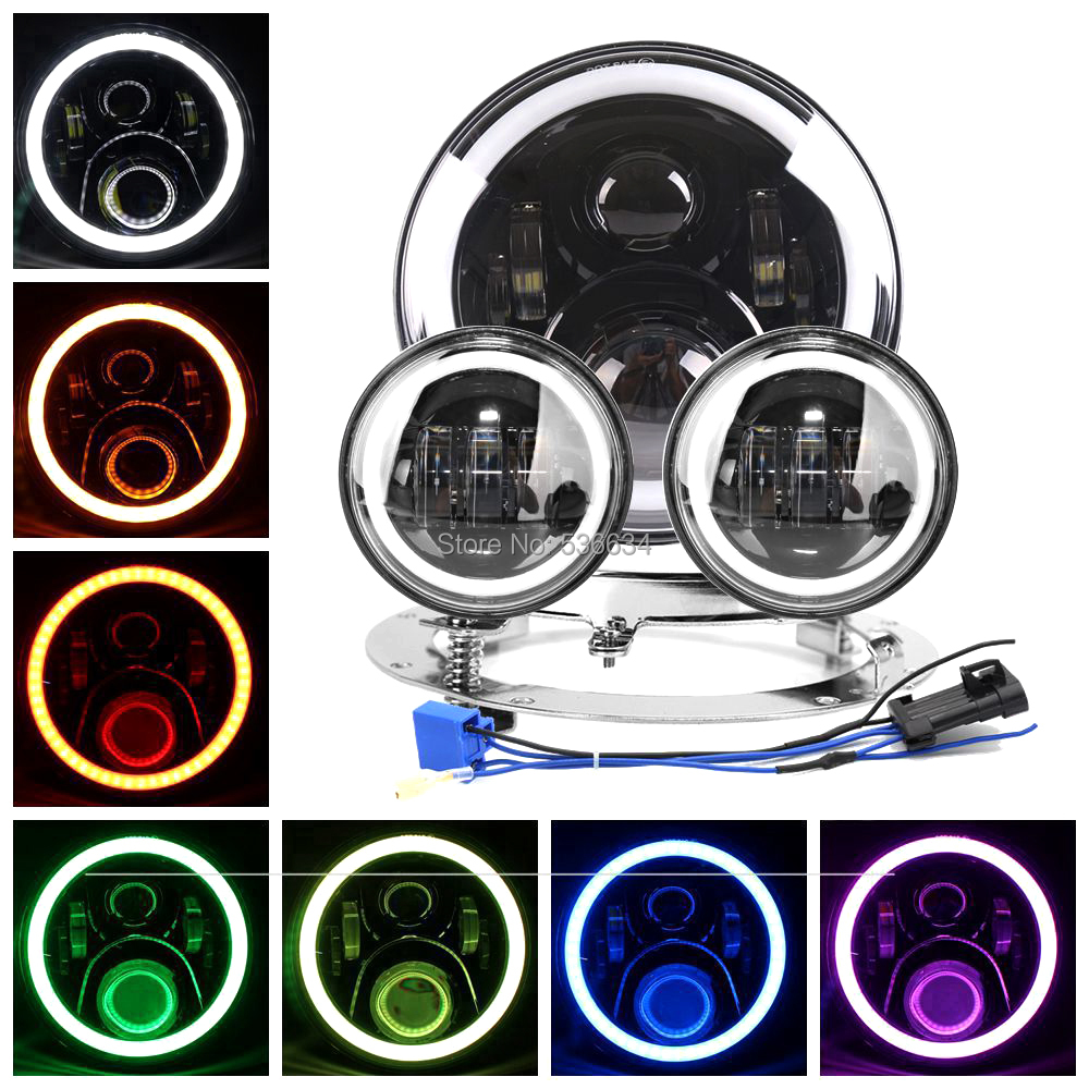 7inch LED Round Headlight Hi/Low RGB+7inch Headlight Mounting Bracket Ring&4.5inch Passing Auxiliary Fog Lights For Road King 7 inch round led headlight 12v eyes lights led high low headlight 7 inch