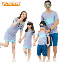 New 2018 Family Clothing Summer Family Look Mother Daughter Dresses Father Son T-Shirt Cotton Striped Family Matching Outfits