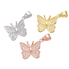 Butterfly Necklaces Pendants Accessories Copper Charms For Engagement Necklace Women Micro Pave Butterfly Findings CHF287