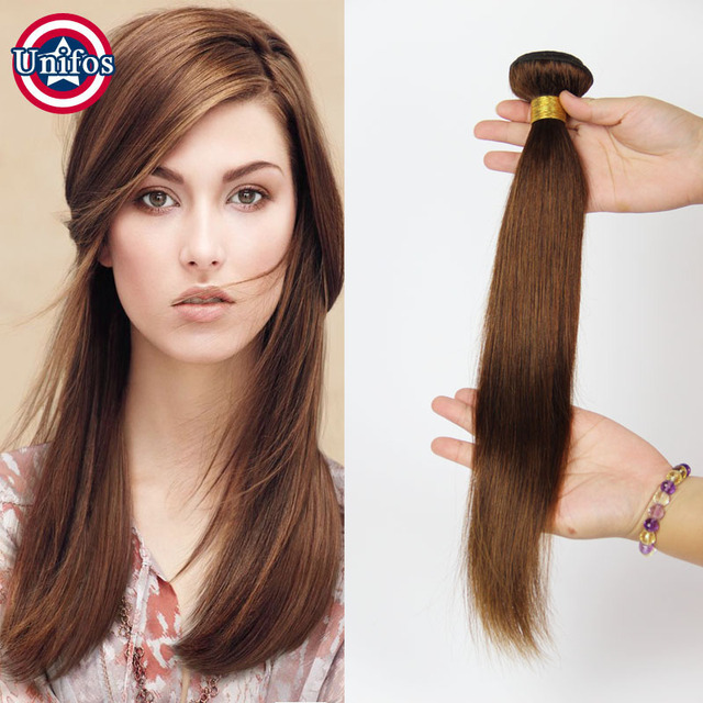 Grade 8a Light Brown Human Hair Extensions Single Bundle Brazilian