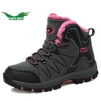 LANTI KAST Women Hiking Shoes Winter Keeping Warm Thickening High Top Sneakers Outdoor Walking Shoe Women