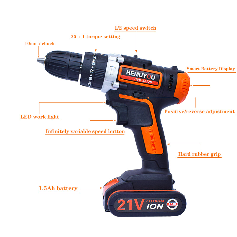 21V cordless electric screwdriver hand-held electric drill impact drill lithium ion battery10mm 2 speed + smart battery display