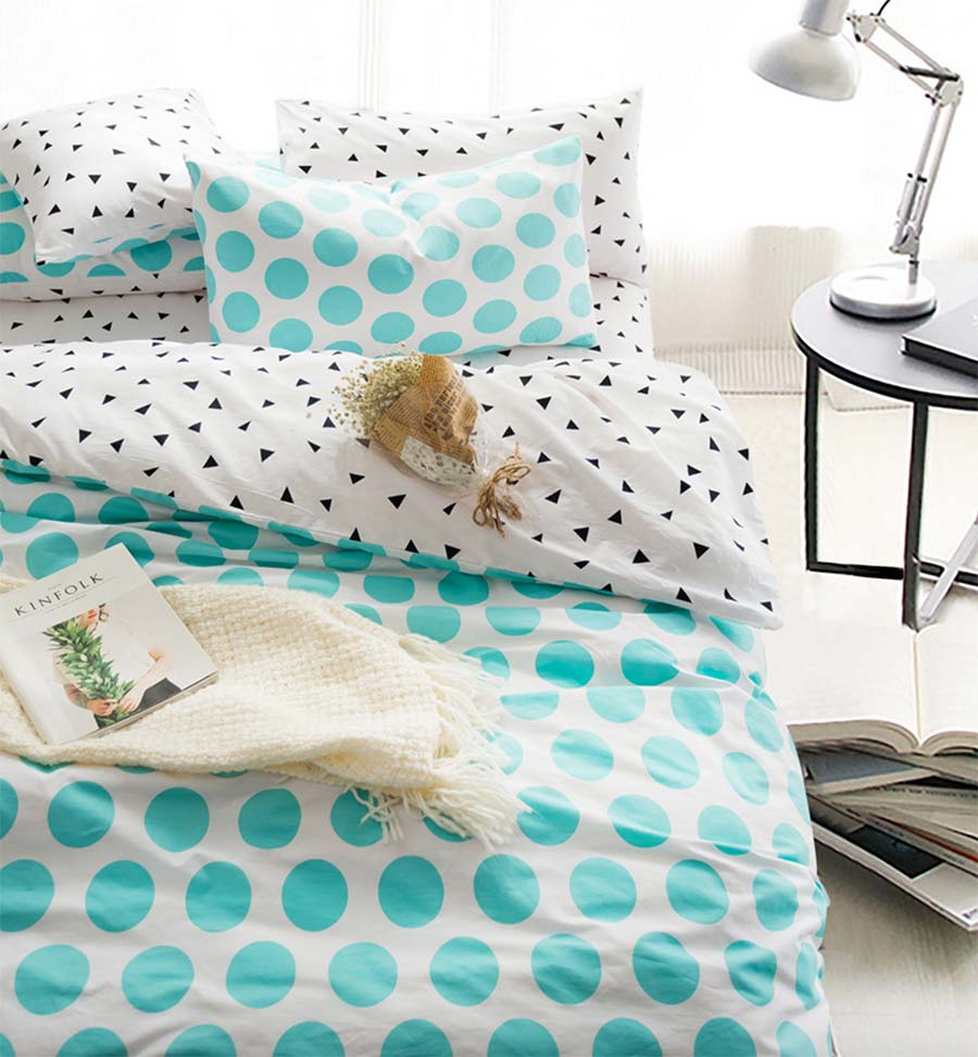 Polka dot bed spreads - Cute Polka Dot Bedding Set Cotton Kid Teen Twin Full Queen King Single Double Home