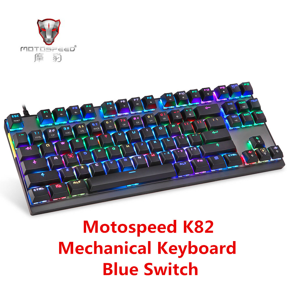 Motospeed K82 USB Wired Mechanical Keyboard With RGB Backlight All-Key Anti-Ghost Gaming Keyboard Blue Switch 87 Keys For PUBG motospeed k22 mechanical numeric keypad wired 22 keys mini numpad backlight keyboard extended layout for cashier red switch