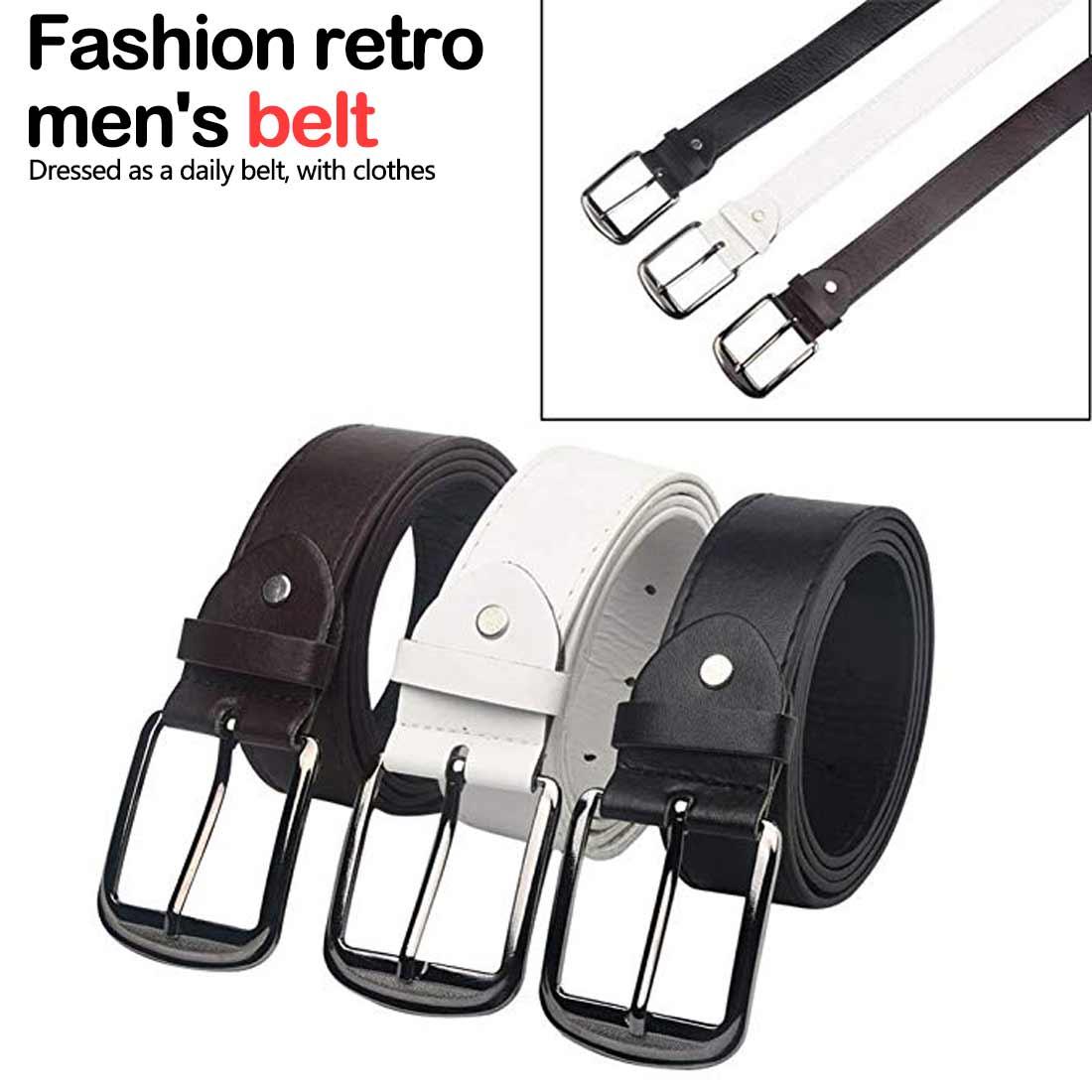 ceinture femme Casual Men   Belts   Fashion Luxury Imitation PU Leather Waistband Upscale Square Shape Pin Buckle Male Vintage   Belts