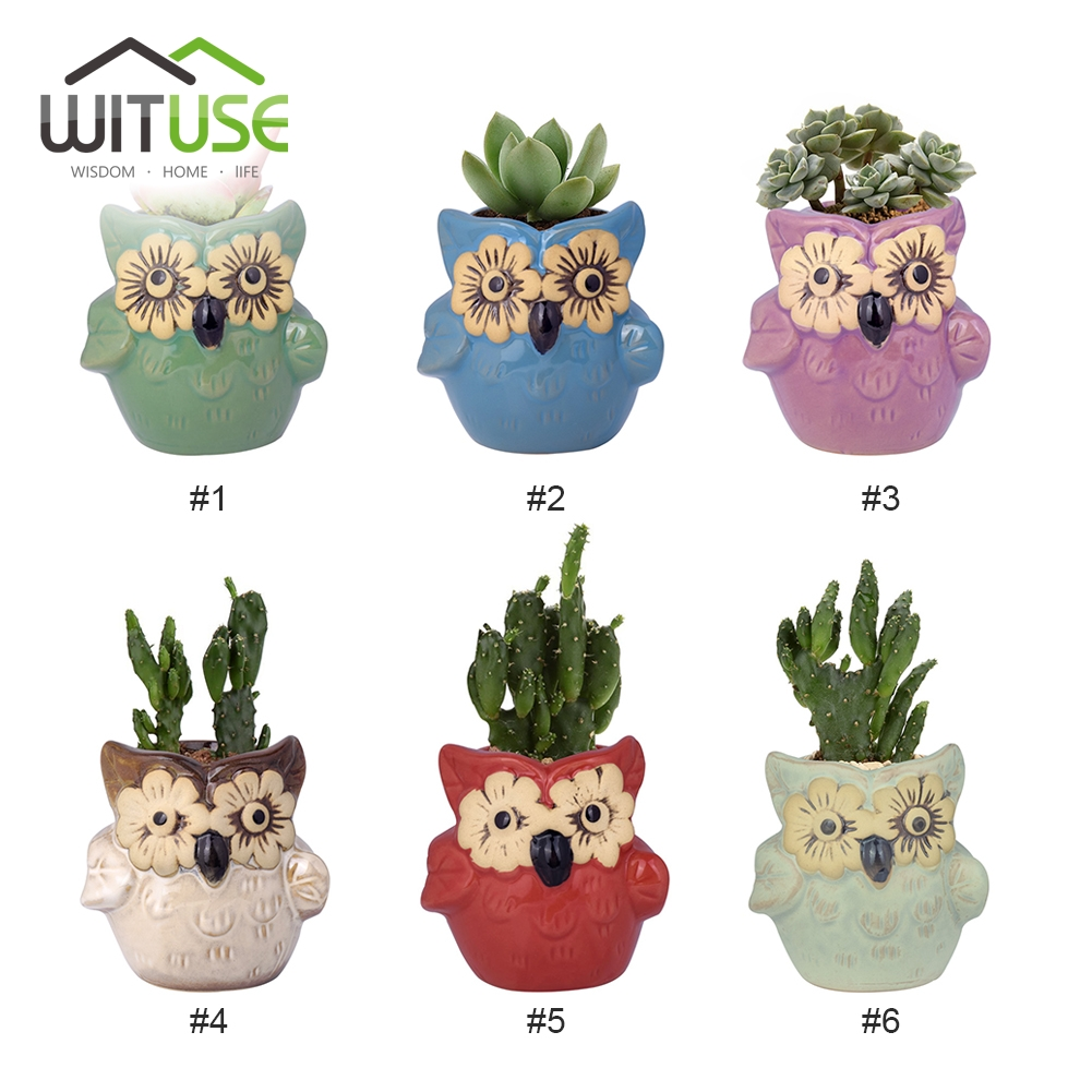 WITUSE Kawaii Owl Ceramic Flowerpot Bulbasaur Planter Cute Succulent Plants Flower Pot with Hole Cute Desk Wedding Decoration