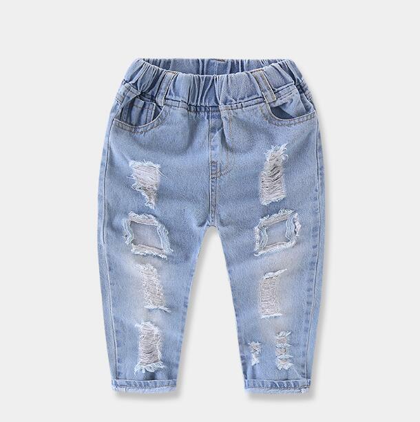 2018 Neue Stil Kinder Jeans Jungen Mädchen Hosen Herbstmode Designer Kinder Denim Hosen Lässige Zerrissenen Jeans Für 2 ~ 6 Jahre