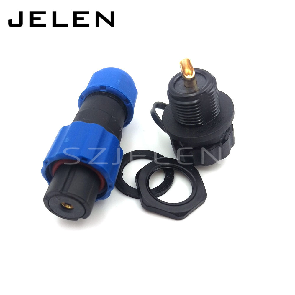 SP1310/S1-SP1312/P1, 1 pin waterproof connector , 1-pin coaxial connector plug and socket, IP68, Panel Mount, rated current 30A sp1310 waterproof