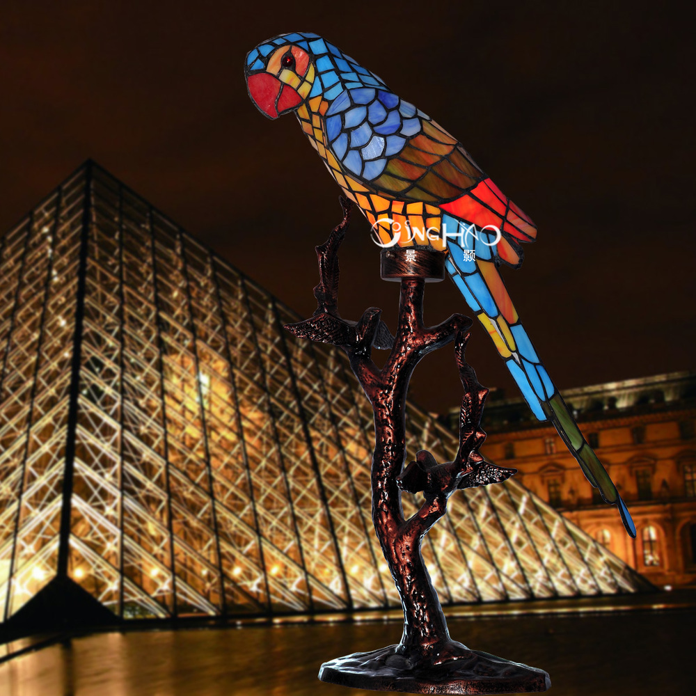 Continental Tiffany Lamp Living Room Lamp Lighting Lamps Study Lamp Light  Desk Lamp Parrot Cafe Table Lamp In Decorative Films From Home U0026 Garden On  ...