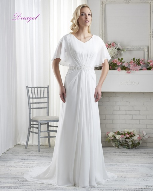 Dreagel 2016 New Fashionable Romantic White Chiffon Wedding Dress Luxurious Waist Crystal Unique Pleated Elegant  Batwing Sleeve