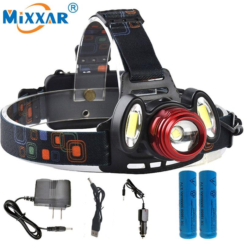 NZK20 8000LM T6 2COB LED Headlight Headlamp Rechargeable Head Hunt Fishing Light Torch Lamp 2x18650 Battery