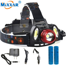 NZK20 8000LM T6+2COB LED Headlight Headlamp Rechargeable Head Hunt Fishing Light Torch Lamp+2×18650 Battery+AC Car USB Charger