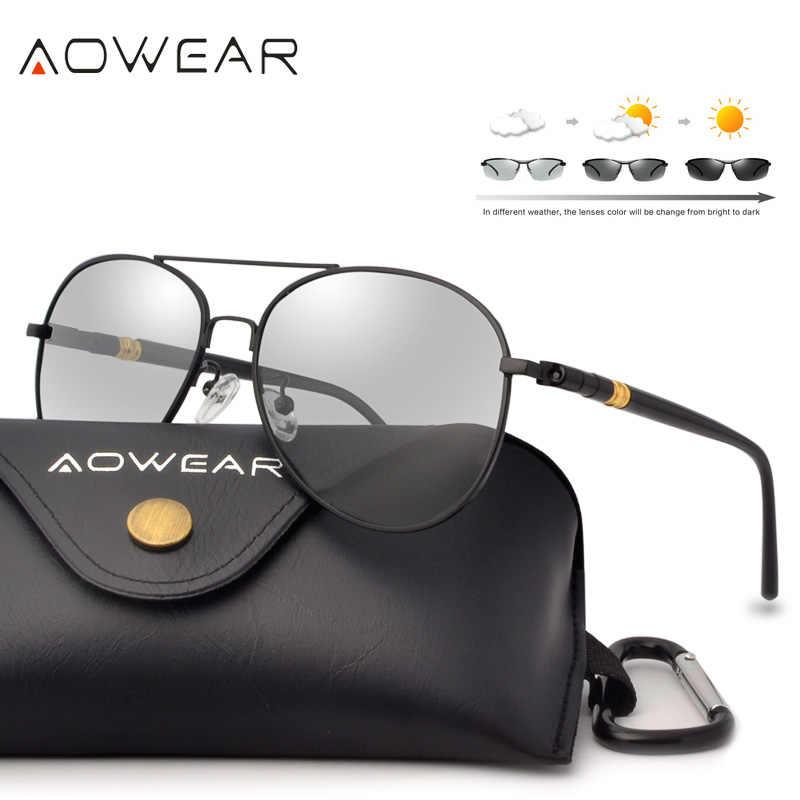 AOWEAR пилот фотохромные солнцезащитные очки для женщин для мужчин  поляризационные Хамелеон Защита от солнца Очки День 0e3c0ea9649