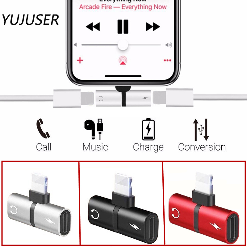 YUJUSER Black/Silver/Red 1Pc Audio Charging Dual Adapter Splitter Cable Connector Converter For IPhone X 10 7 8 Plus