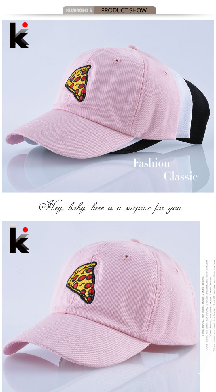 23626469cf048 Women s Baseball Cap Spring Pizza Embroidery Dad Hat For Men Solid Cotton  Snapback Bones Casquette Pink Breathable Visor gorras